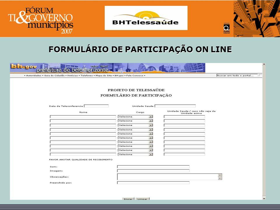 BHTelessaúde FORMULÁRIO DE PARTICIPAÇÃO ON LINE