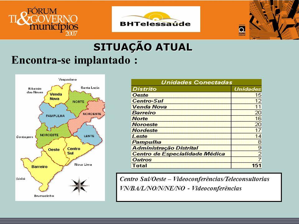 BHTelessaúde SITUAÇÃO ATUAL Encontra-se implantado : Centro Sul/Oeste – Videoconferências/Teleconsultorias VN/BA/L/NO/N/NE/NO - Videoconferências