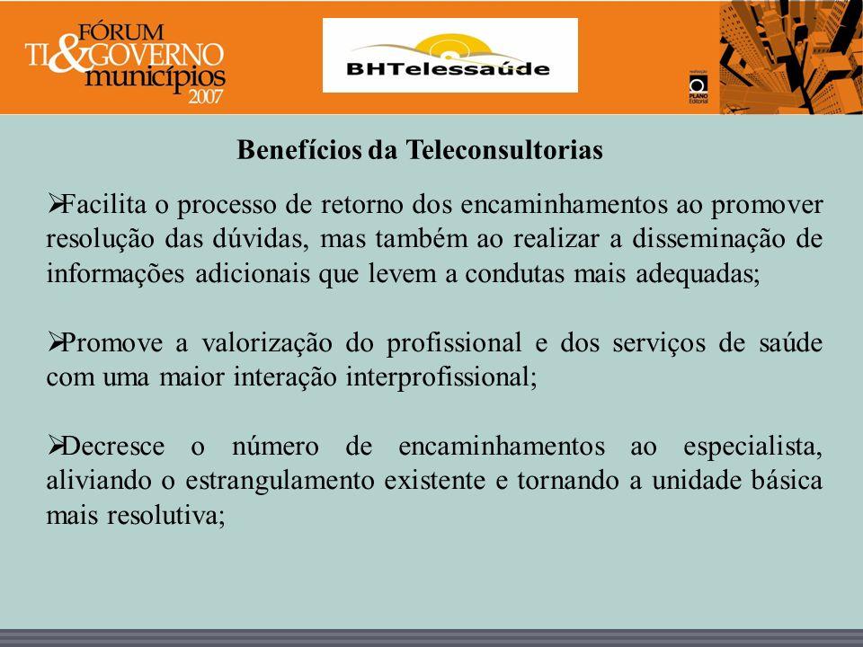 BHTelessaúde Benefícios da Teleconsultorias Facilita o processo de retorno dos encaminhamentos ao promover resolução das dúvidas, mas também ao realiz
