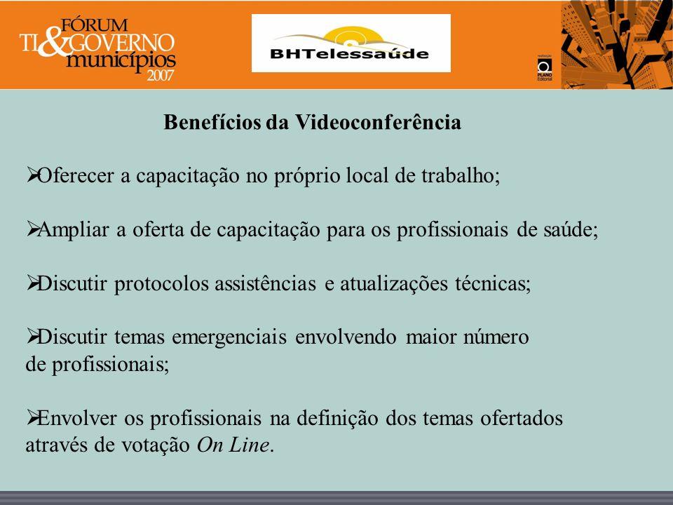 BHTelessaúde Benefícios da Videoconferência Oferecer a capacitação no próprio local de trabalho; Ampliar a oferta de capacitação para os profissionais