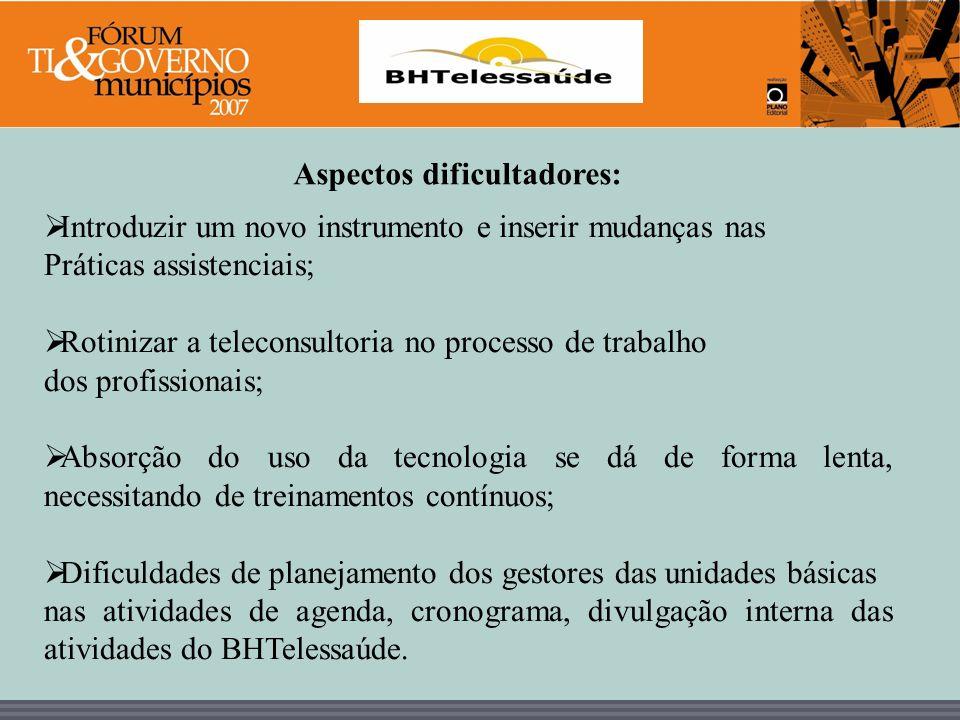 BHTelessaúde Aspectos dificultadores: Introduzir um novo instrumento e inserir mudanças nas Práticas assistenciais; Rotinizar a teleconsultoria no pro