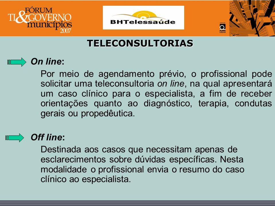 BHTelessaúde TELECONSULTORIAS On line: Por meio de agendamento prévio, o profissional pode solicitar uma teleconsultoria on line, na qual apresentará