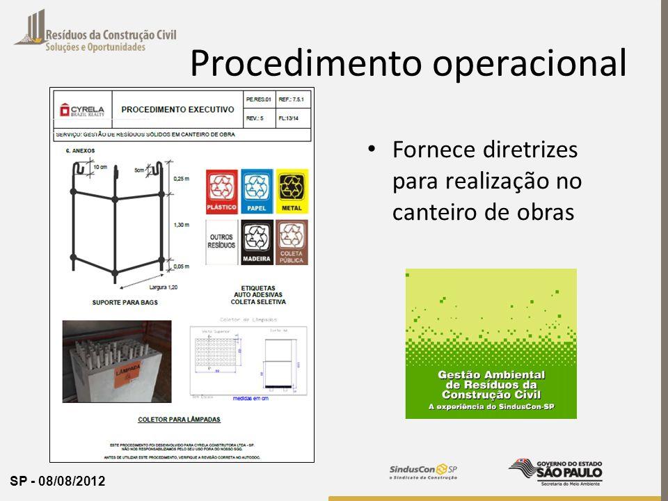 SP - 08/08/2012 Procedimento operacional Fornece diretrizes para realização no canteiro de obras