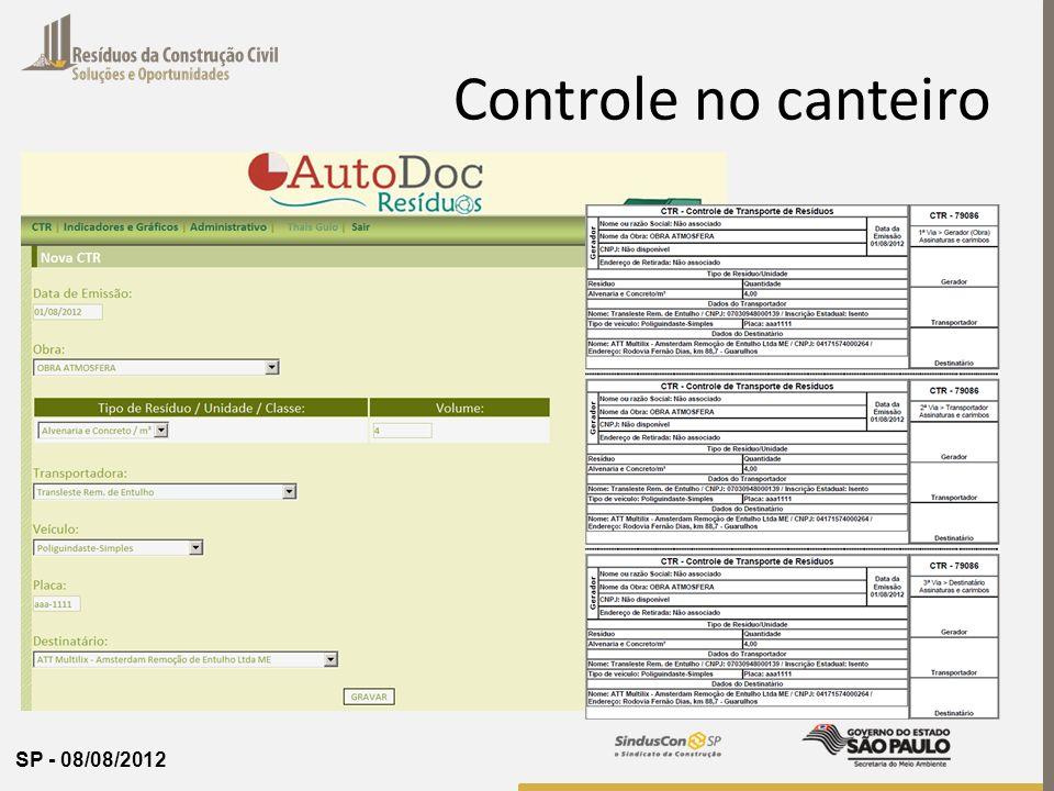 SP - 08/08/2012 Controle no canteiro