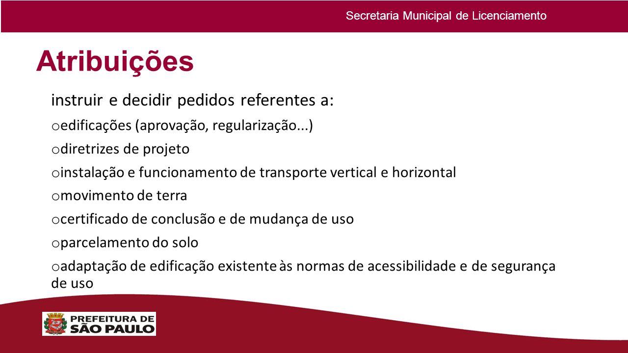 Atribuições instruir e decidir pedidos referentes a: o edificações (aprovação, regularização...) o diretrizes de projeto o instalação e funcionamento