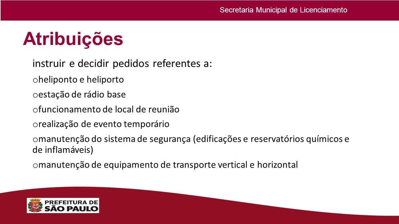 Atribuições instruir e decidir pedidos referentes a: o heliponto e heliporto o estação de rádio base o funcionamento de local de reunião o realização