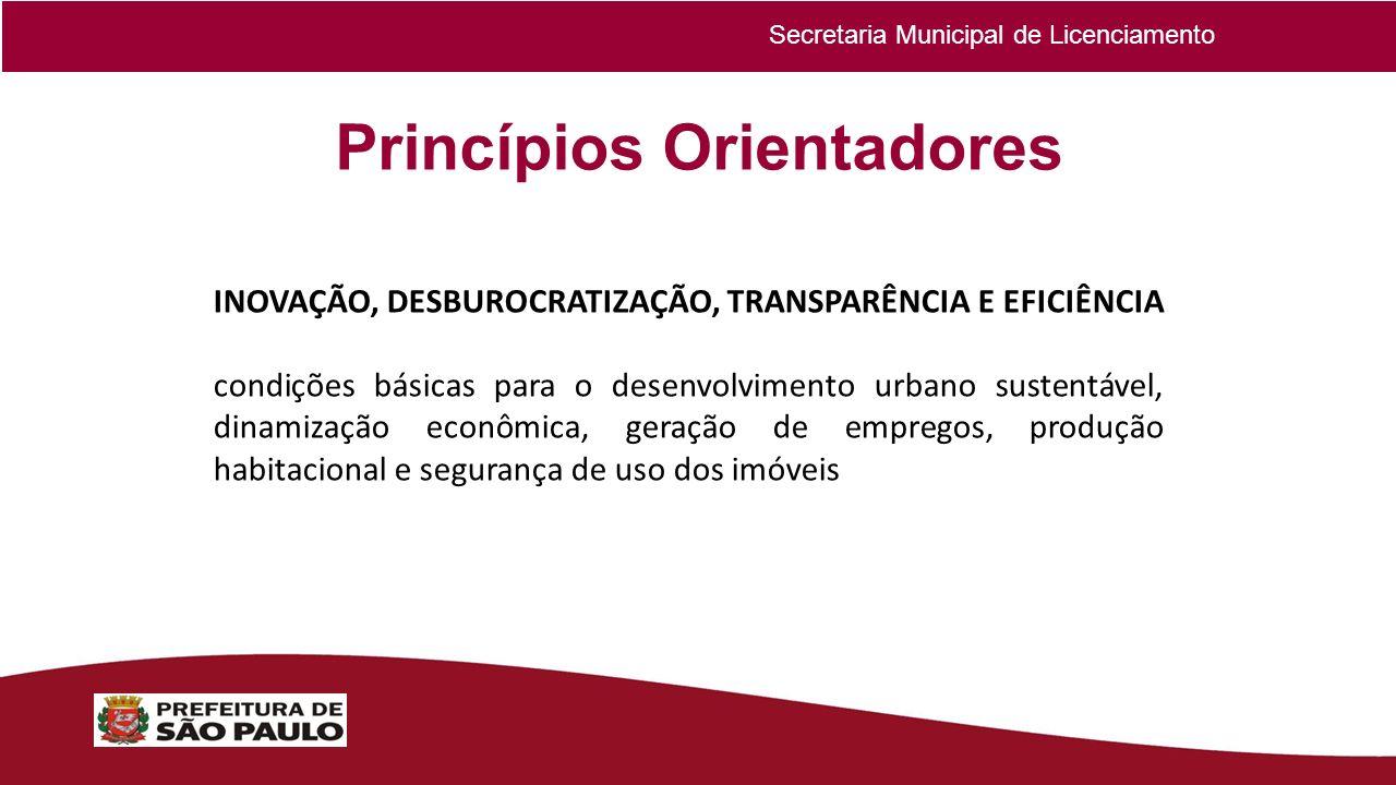 Princípios Orientadores INOVAÇÃO, DESBUROCRATIZAÇÃO, TRANSPARÊNCIA E EFICIÊNCIA condições básicas para o desenvolvimento urbano sustentável, dinamizaç