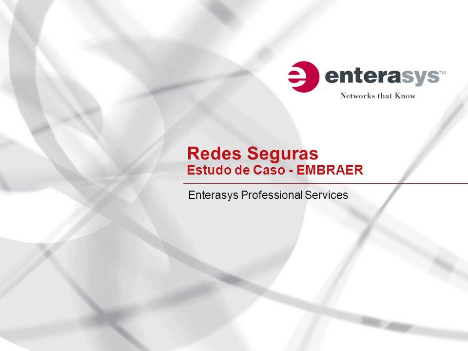 Enterasys Fundada em 1986 (Cabletron Systems) Mais de 12 anos de presença no Brasil Headquarters: Andover, Massachusetts Atuação: Soluções de Redes Seguras para o mercado corporativo Principais segmentos: Financeiro, Serviços, Indústria, Hospitalar, Educacional, Governo Número de escritórios no mundo: 62 Escritórios no Brasil: SP, RJ e DF Mais de 650 patentes Investimento em R&D: 20.3% do Revenue *Cabletron Systems We Build The Worlds Most Secure Networks