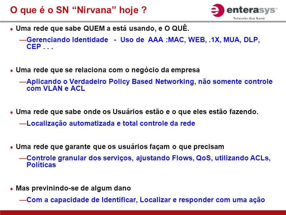 O que é o SN Nirvana hoje ? Uma rede que sabe QUEM a está usando, e O QUÊ. Gerenciando Identidade - Uso de AAA :MAC, WEB,.1X, MUA, DLP, CEP... Uma red