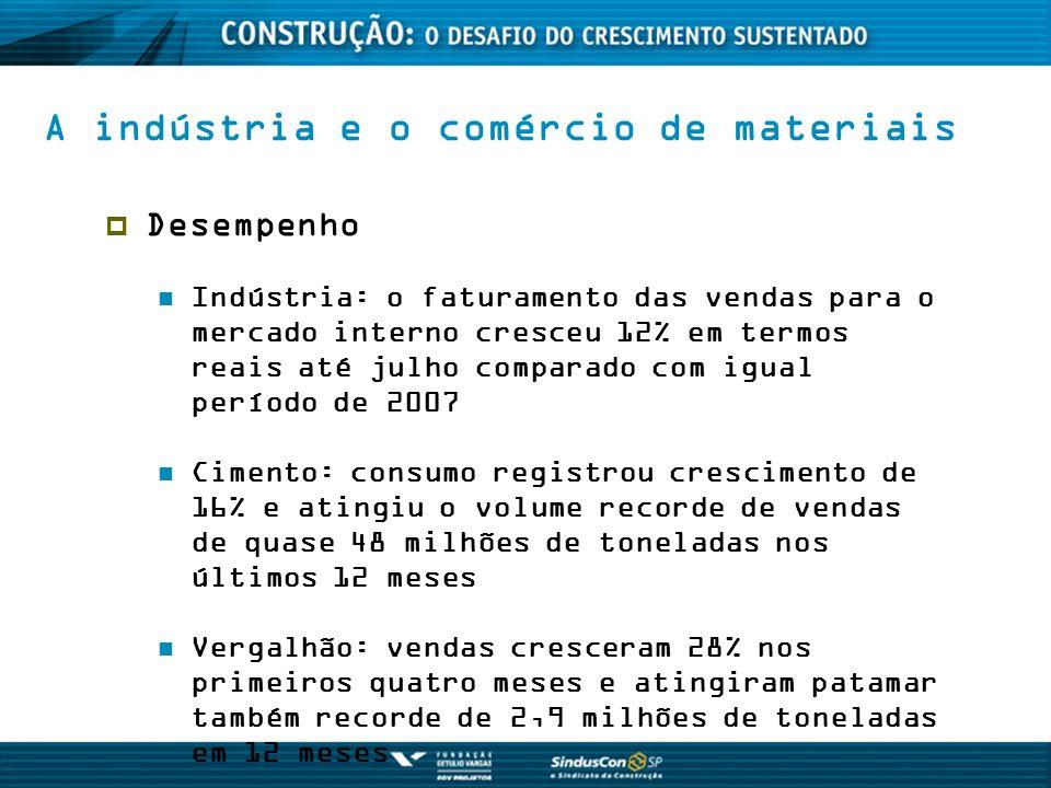 A indústria e o comércio de materiais Desempenho Indústria: o faturamento das vendas para o mercado interno cresceu 12% em termos reais até julho comp