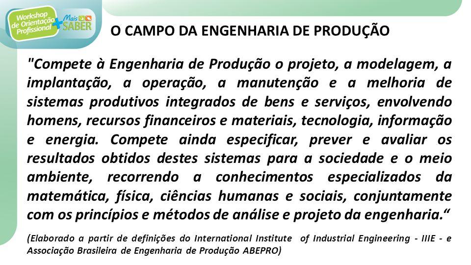 Compete ao curso de Engenharia de Produção, ramo de engenharia, como área de conhecimento fundamentado nas ciências físicas, matemáticas, sociais e com bases tecnológicas.