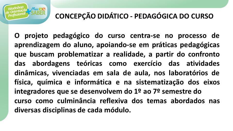 O projeto pedagógico do curso centra-se no processo de aprendizagem do aluno, apoiando-se em práticas pedagógicas que buscam problematizar a realidade