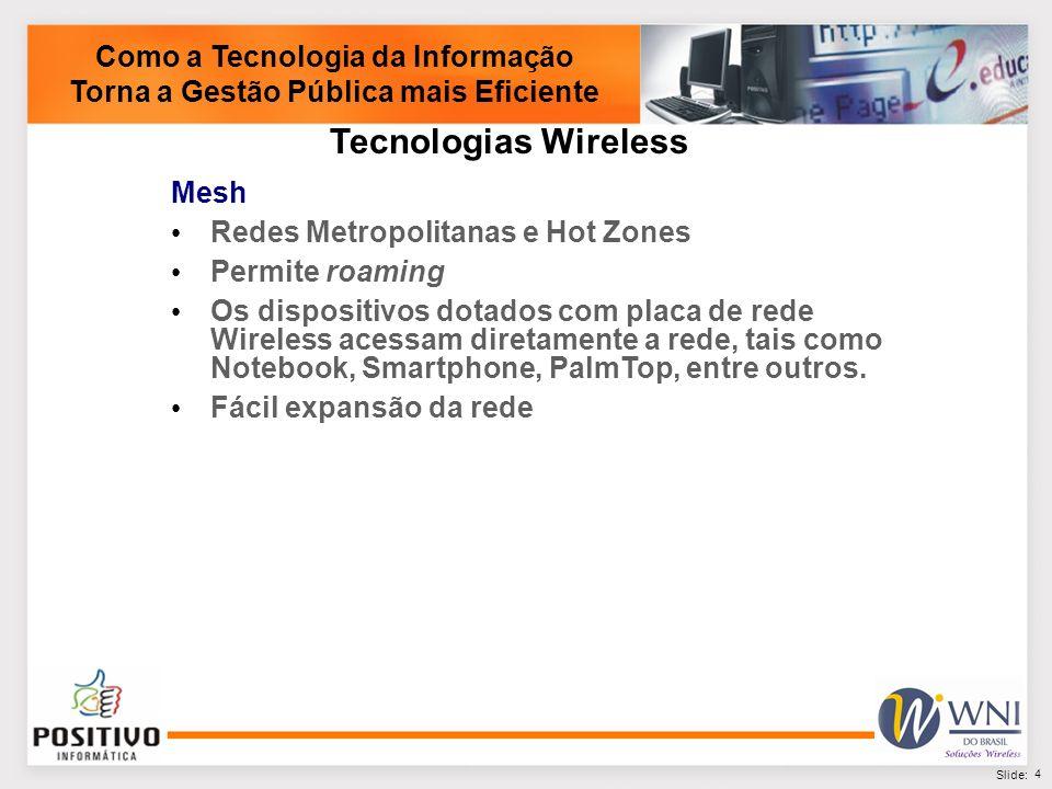 5 Slide: Banda-larga Fixa Conexão de alta velocidade Acesso à Internet Rede Municipal da Administração Comunicação VoIP Administração Central de Dados - Datacenter Como a Tecnologia da Informação Torna a Gestão Pública mais Eficiente Rede Metropolitana Wireless Wi-Fi HotZones Acesso público a Internet com WiFi Quiosques públicos de acesso a Internet Educação Controle de alunos Acesso a conteúdos educacionais Inclusão digital