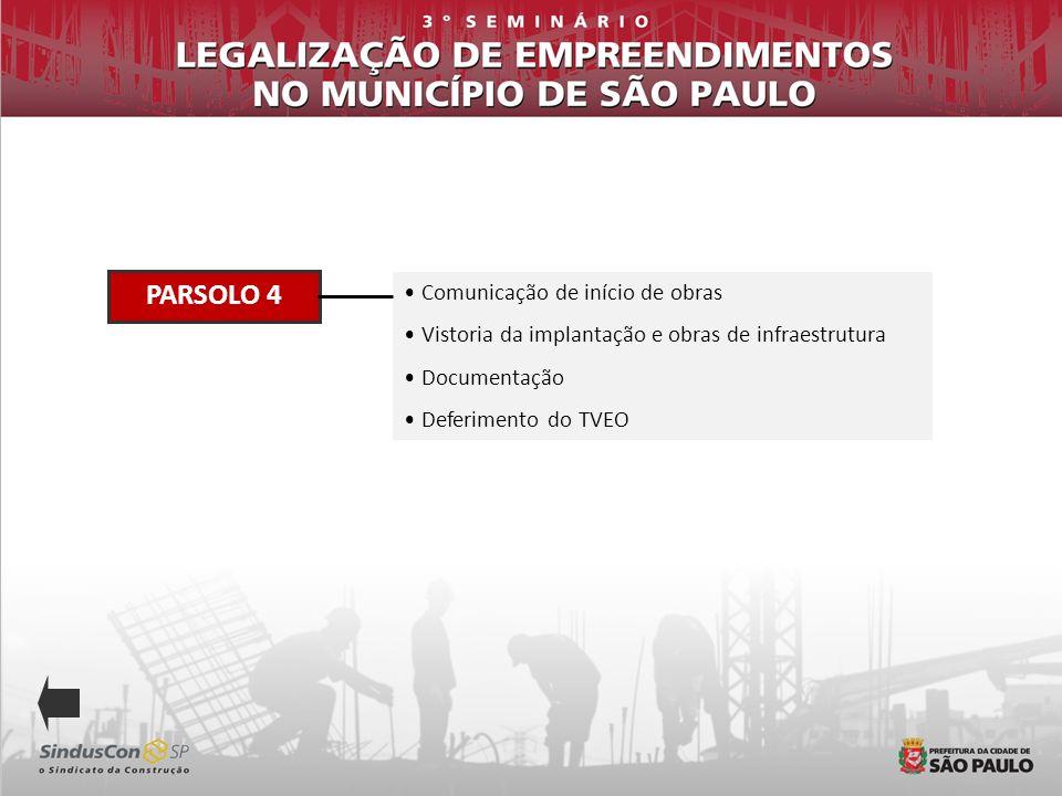 PARSOLO 4 Comunicação de início de obras Vistoria da implantação e obras de infraestrutura Documentação Deferimento do TVEO