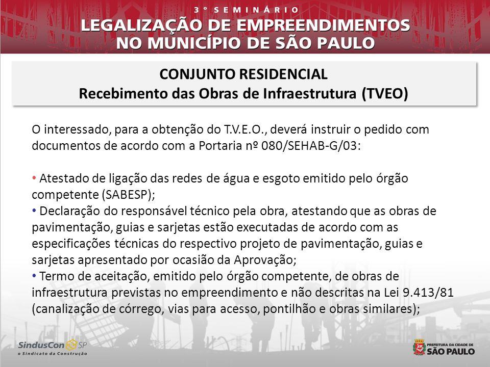 O interessado, para a obtenção do T.V.E.O., deverá instruir o pedido com documentos de acordo com a Portaria nº 080/SEHAB-G/03: Atestado de ligação da