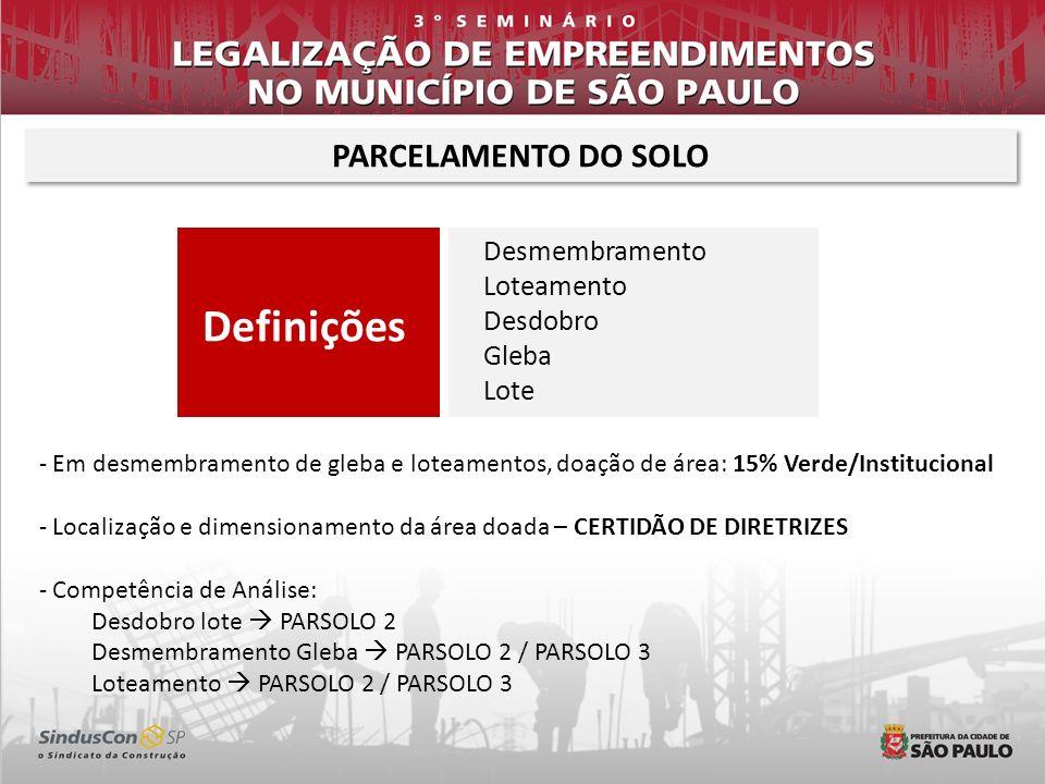 Definições Desmembramento Loteamento Desdobro Gleba Lote PARCELAMENTO DO SOLO - Em desmembramento de gleba e loteamentos, doação de área: 15% Verde/In