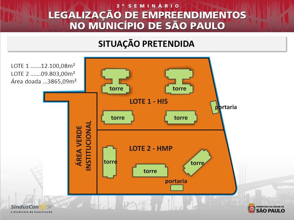 SITUAÇÃO PRETENDIDA LOTE 1.......12.100,08m² LOTE 2.......09.803,00m² Área doada...3865,09m²