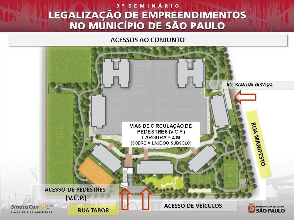ACESSOS AO CONJUNTO ACESSO DE PEDESTRES (V.C.P.) ACESSO DE PEDESTRES (V.C.P.) ACESSO DE VEÍCULOS ENTRADA DE SERVIÇO RUA TABOR RUA MANIFESTO VIAS DE CIRCULAÇÃO DE PEDESTRES (V.C.P.) LARGURA = 4 M (SOBRE A LAJE DO SUBSOLO)