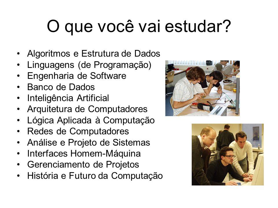 O que você vai estudar? Algoritmos e Estrutura de Dados Linguagens (de Programação) Engenharia de Software Banco de Dados Inteligência Artificial Arqu