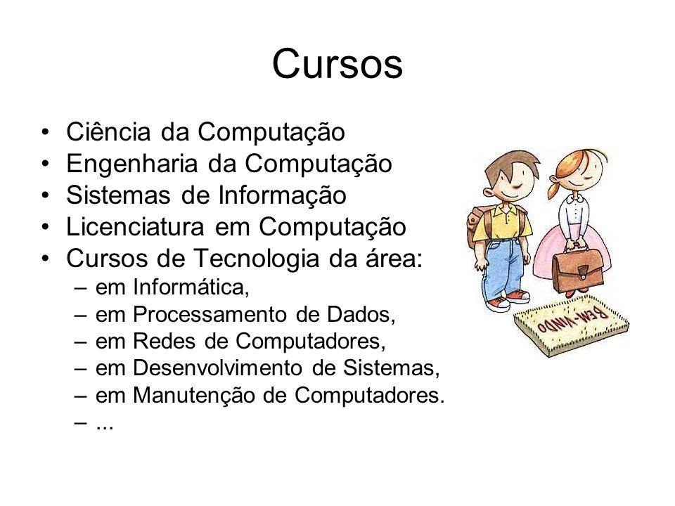 Cursos Ciência da Computação Engenharia da Computação Sistemas de Informação Licenciatura em Computação Cursos de Tecnologia da área: –em Informática,
