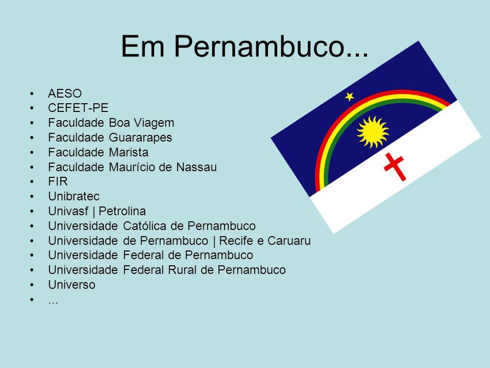 Em Pernambuco... AESO CEFET-PE Faculdade Boa Viagem Faculdade Guararapes Faculdade Marista Faculdade Maurício de Nassau FIR Unibratec Univasf | Petrol