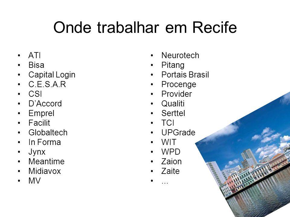 Onde trabalhar em Recife ATI Bisa Capital Login C.E.S.A.R CSI DAccord Emprel Facilit Globaltech In Forma Jynx Meantime Midiavox MV Neurotech Pitang Po