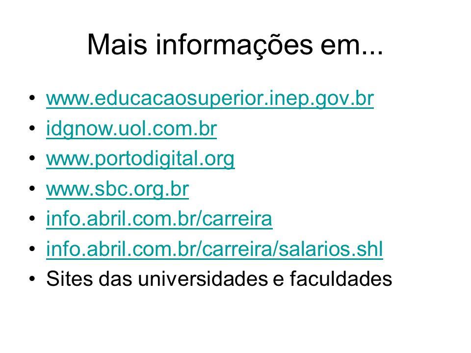 Mais informações em... www.educacaosuperior.inep.gov.br idgnow.uol.com.br www.portodigital.org www.sbc.org.br info.abril.com.br/carreira info.abril.co