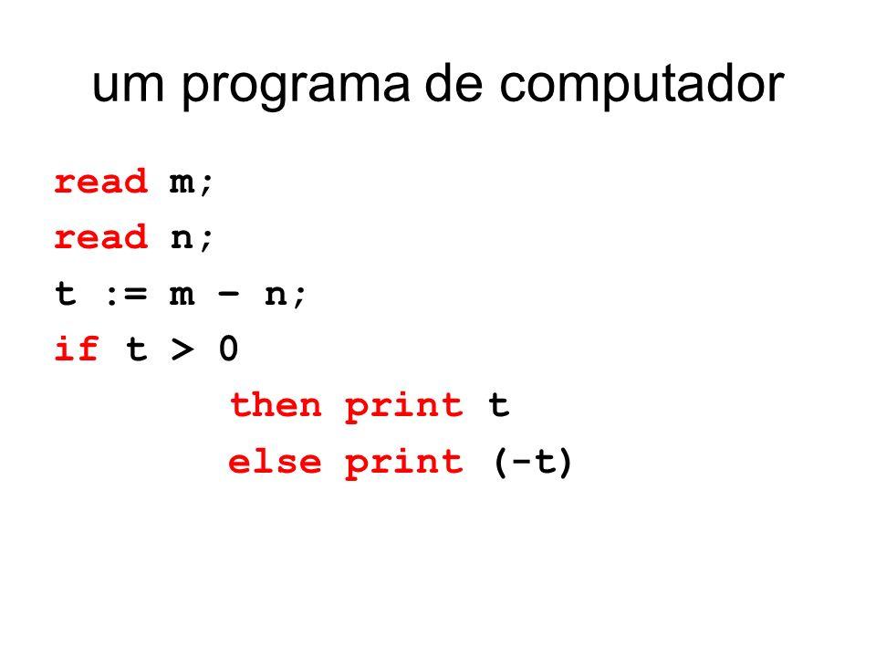 um programa de computador read m; read n; t := m – n; if t > 0 then print t else print (-t)