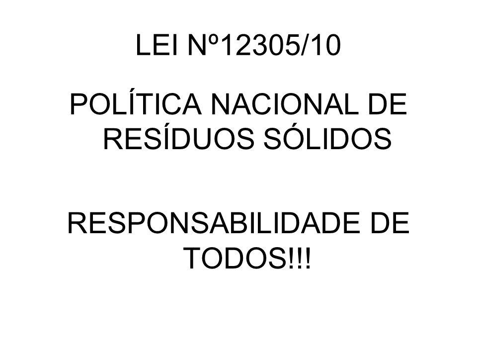 LEI Nº12305/10 POLÍTICA NACIONAL DE RESÍDUOS SÓLIDOS RESPONSABILIDADE DE TODOS!!!