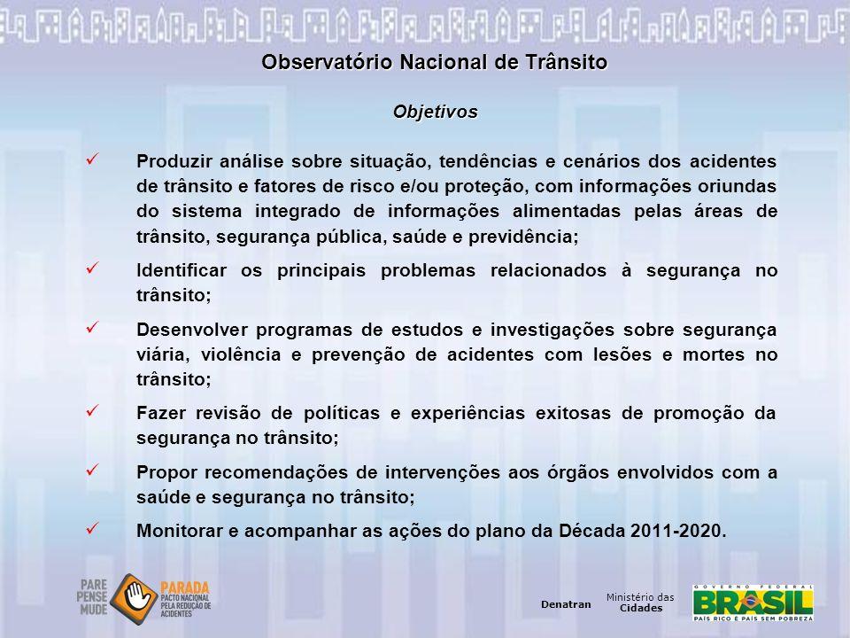 Ministério das Cidades Denatran Ministério das Cidades Denatran Observatório Nacional de Trânsito Objetivos Produzir análise sobre situação, tendência