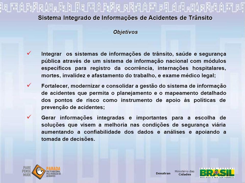 Ministério das Cidades Denatran Ministério das Cidades Denatran Sistema Integrado de Informações de Acidentes de Trânsito Objetivos Integrar os sistem