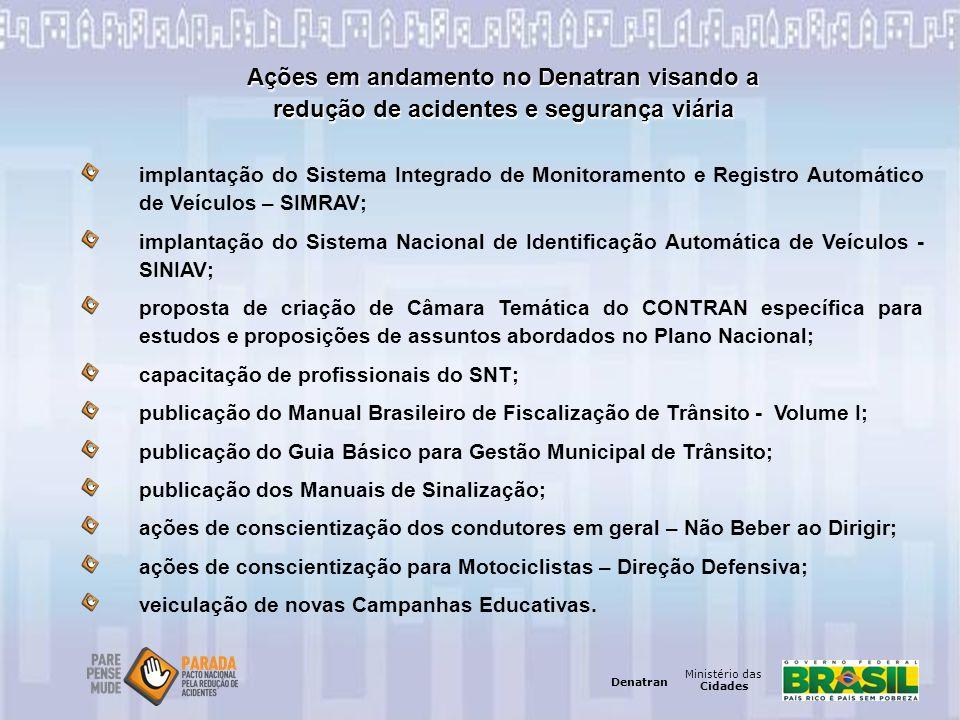 Ministério das Cidades Denatran Ministério das Cidades Denatran Ações em andamento no Denatran visando a redução de acidentes e segurança viária impla