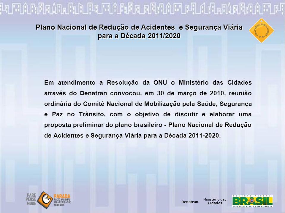 Ministério das Cidades Denatran Ministério das Cidades Denatran Plano Nacional de Redução de Acidentes e Segurança Viária para a Década 2011-2020. Em