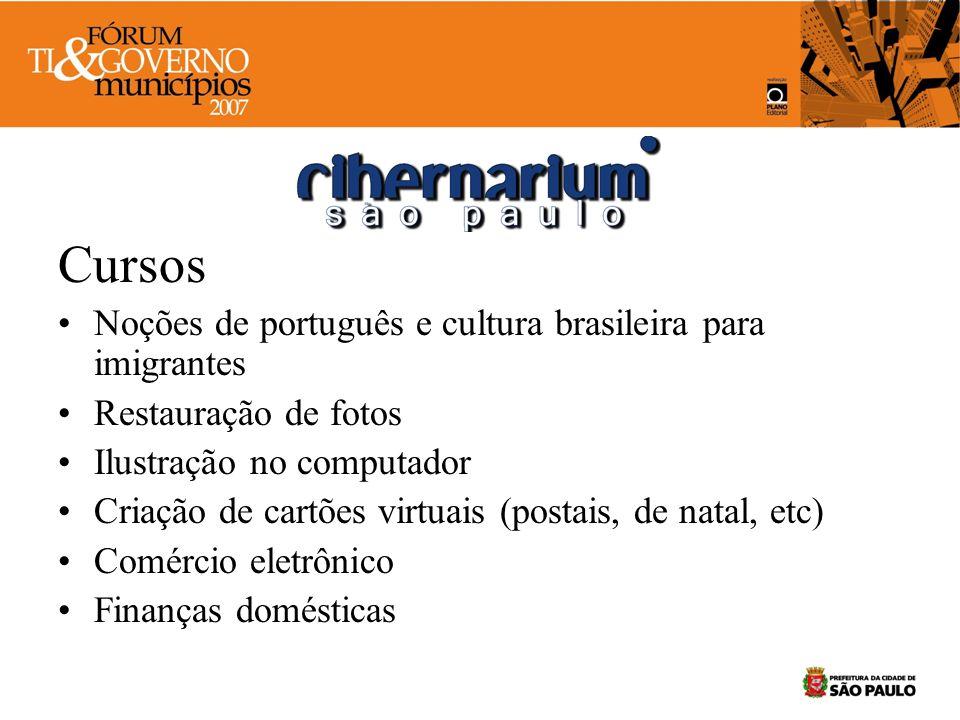 Cursos Noções de português e cultura brasileira para imigrantes Restauração de fotos Ilustração no computador Criação de cartões virtuais (postais, de