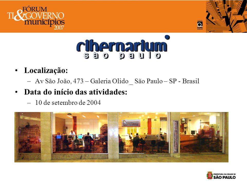 Localização: –Av São João, 473 – Galeria Olido _ São Paulo – SP - Brasil Data do início das atividades: –10 de setembro de 2004