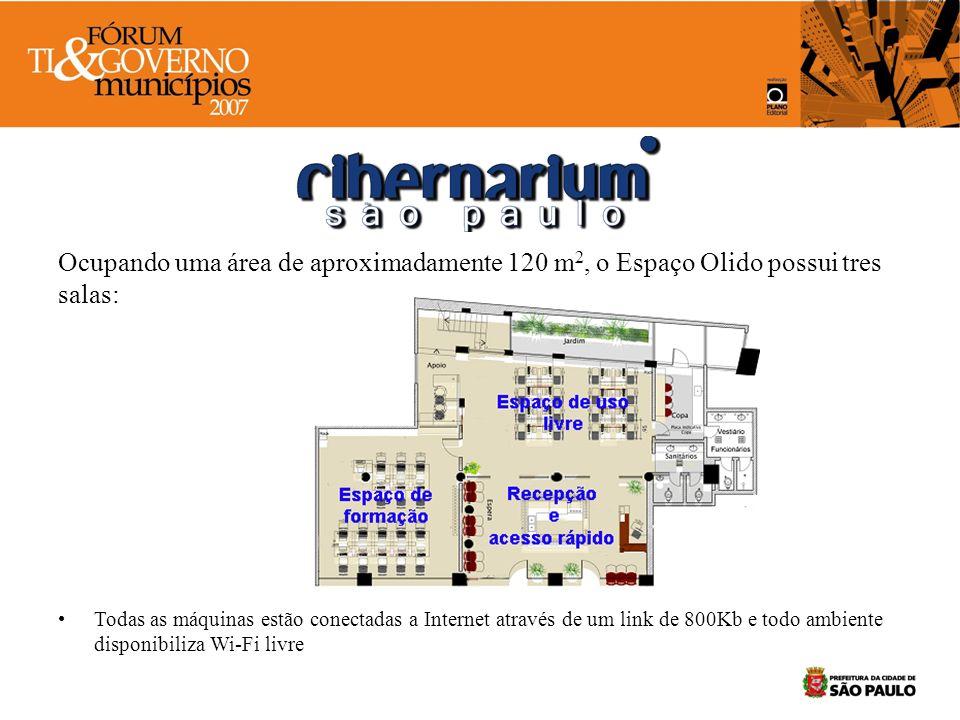Espaço para uso livre: –16 máquinas tipo thin client com CPU de 700MHZ e 256MB de RAM –1 servidor com CPU Pentium 4, 1GB de RAM, 160 GB de HD e sistema operacional Linux (SABER)