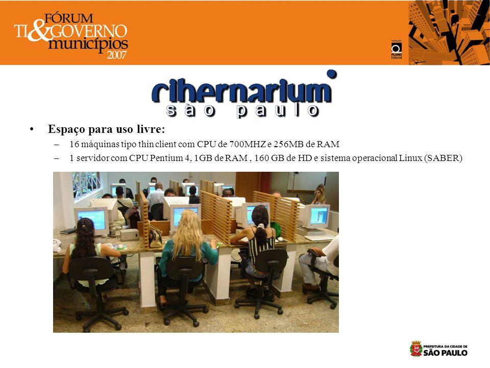 Espaço de formação – 17 máquinas com CPU Pentium 4, de 3,1 MHz, 1GB de memória, HD de 160GB, monitor de LCD e leitor de DVD e gravador de CD com boot duplo (Windows XP ou Linux via PXE) –1 servidor Pentium 4, 1GB de RAM, 160GB de HD e sistema Linux –1 Datashow