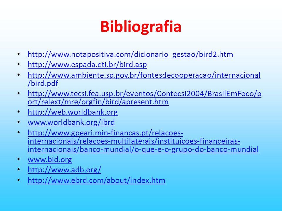 Bibliografia http://www.notapositiva.com/dicionario_gestao/bird2.htm http://www.espada.eti.br/bird.asp http://www.ambiente.sp.gov.br/fontesdecooperaca