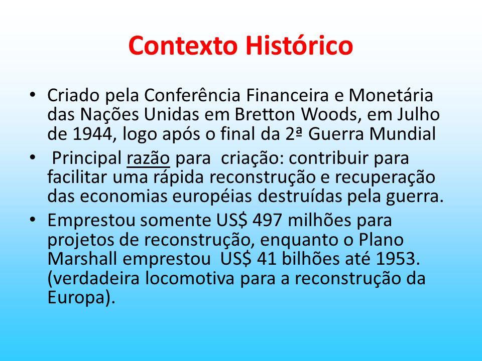Contexto Histórico Criado pela Conferência Financeira e Monetária das Nações Unidas em Bretton Woods, em Julho de 1944, logo após o final da 2ª Guerra