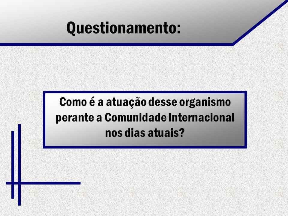 Questionamento: Como é a atuação desse organismo perante a Comunidade Internacional nos dias atuais?