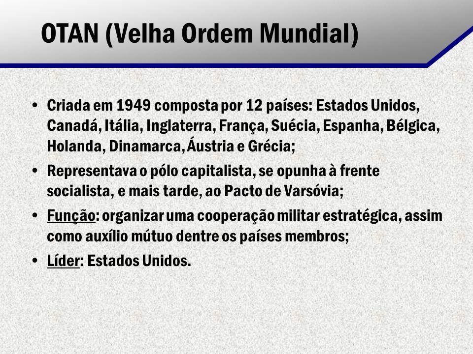 OTAN (Velha Ordem Mundial) Criada em 1949 composta por 12 países: Estados Unidos, Canadá, Itália, Inglaterra, França, Suécia, Espanha, Bélgica, Holand