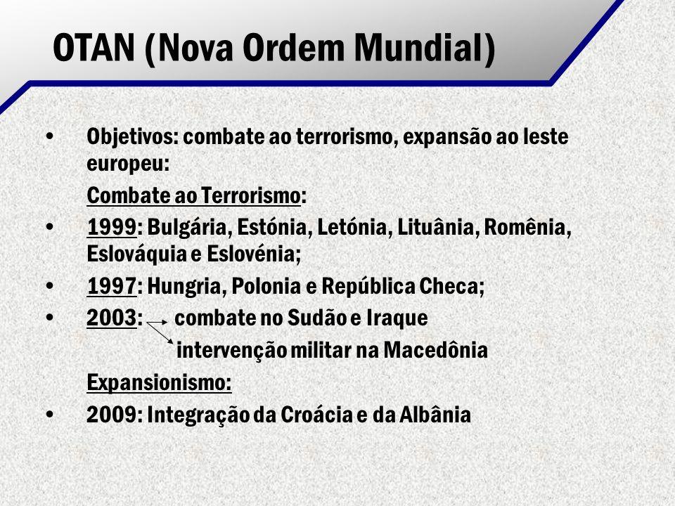 OTAN (Nova Ordem Mundial) Objetivos: combate ao terrorismo, expansão ao leste europeu: Combate ao Terrorismo: 1999: Bulgária, Estónia, Letónia, Lituân