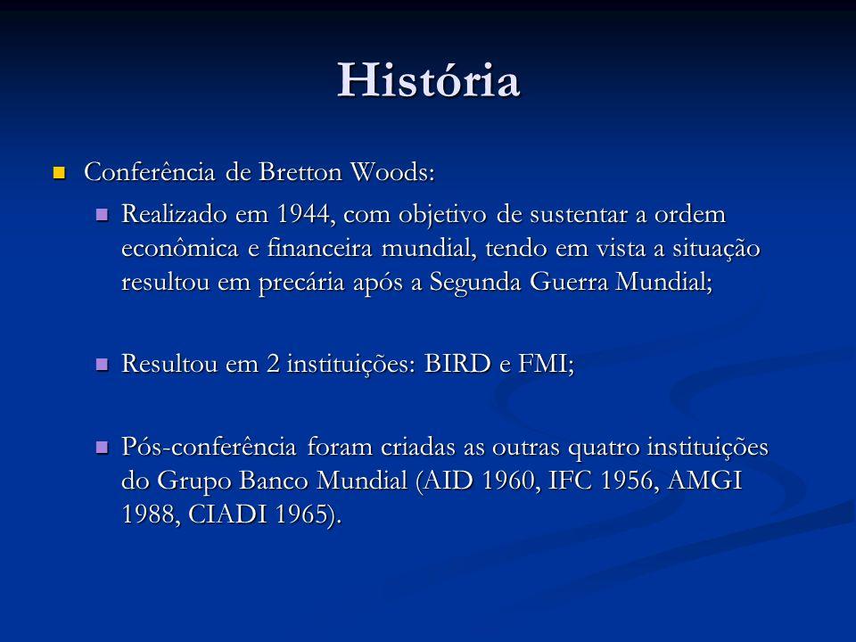História Conferência de Bretton Woods: Conferência de Bretton Woods: Realizado em 1944, com objetivo de sustentar a ordem econômica e financeira mundial, tendo em vista a situação resultou em precária após a Segunda Guerra Mundial; Realizado em 1944, com objetivo de sustentar a ordem econômica e financeira mundial, tendo em vista a situação resultou em precária após a Segunda Guerra Mundial; Resultou em 2 instituições: BIRD e FMI; Resultou em 2 instituições: BIRD e FMI; Pós-conferência foram criadas as outras quatro instituições do Grupo Banco Mundial (AID 1960, IFC 1956, AMGI 1988, CIADI 1965).