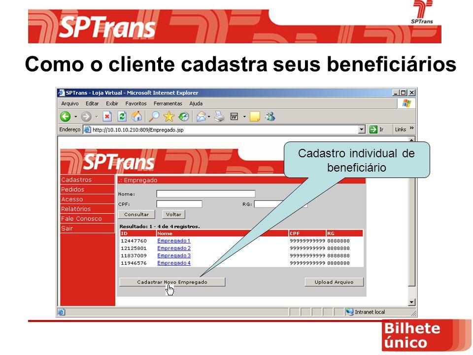 Como o cliente cadastra seus beneficiários Cadastro individual de beneficiário
