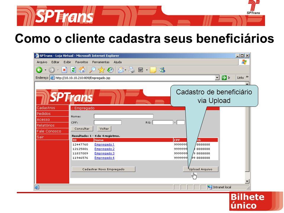 Como o cliente cadastra seus beneficiários Cadastro de beneficiário via Upload