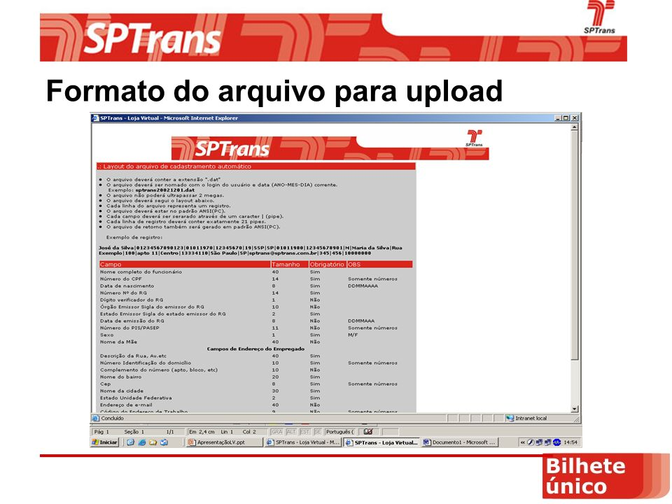 Formato do arquivo para upload