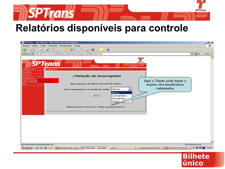 Aqui o Cliente pode baixar o arquivo dos beneficiários cadastrados Relatórios disponíveis para controle