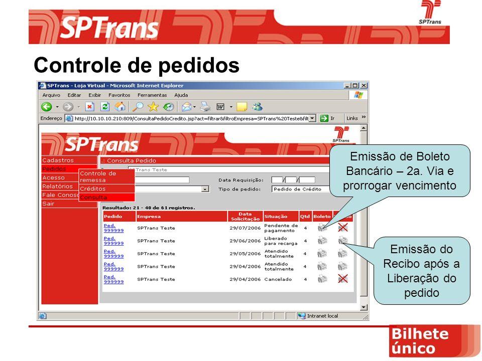Controle de pedidos Emissão de Boleto Bancário – 2a.