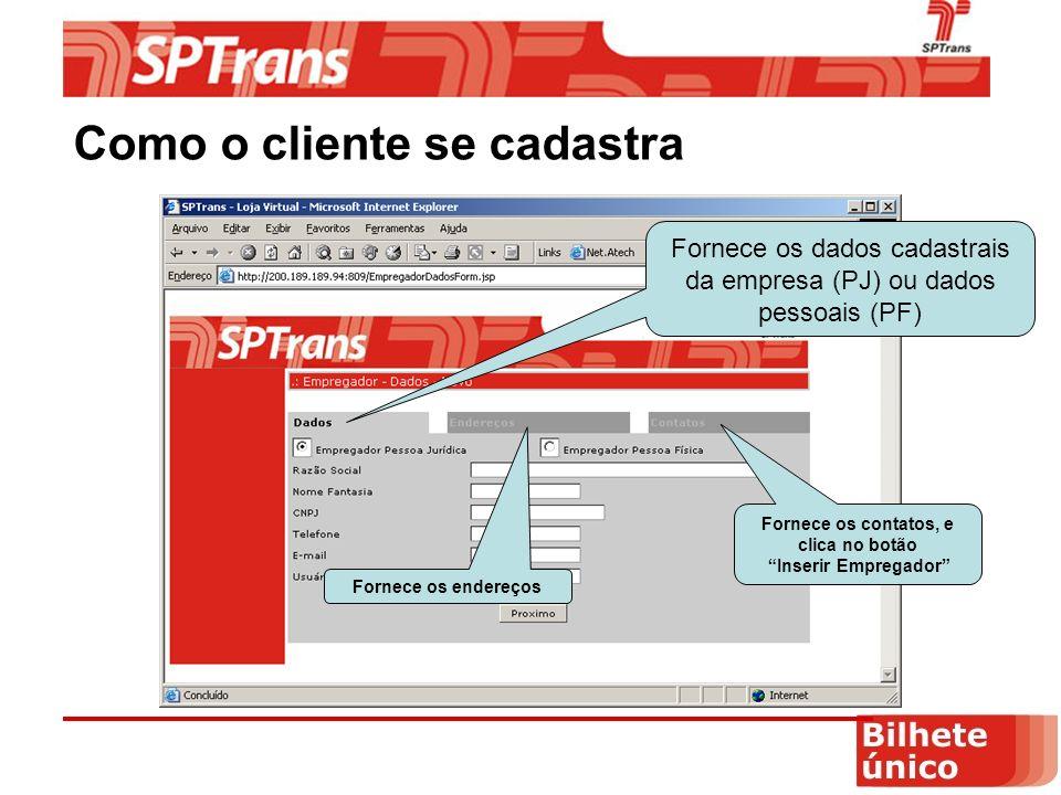 Como o cliente se cadastra Fornece os dados cadastrais da empresa (PJ) ou dados pessoais (PF) Fornece os endereços Fornece os contatos, e clica no botão Inserir Empregador