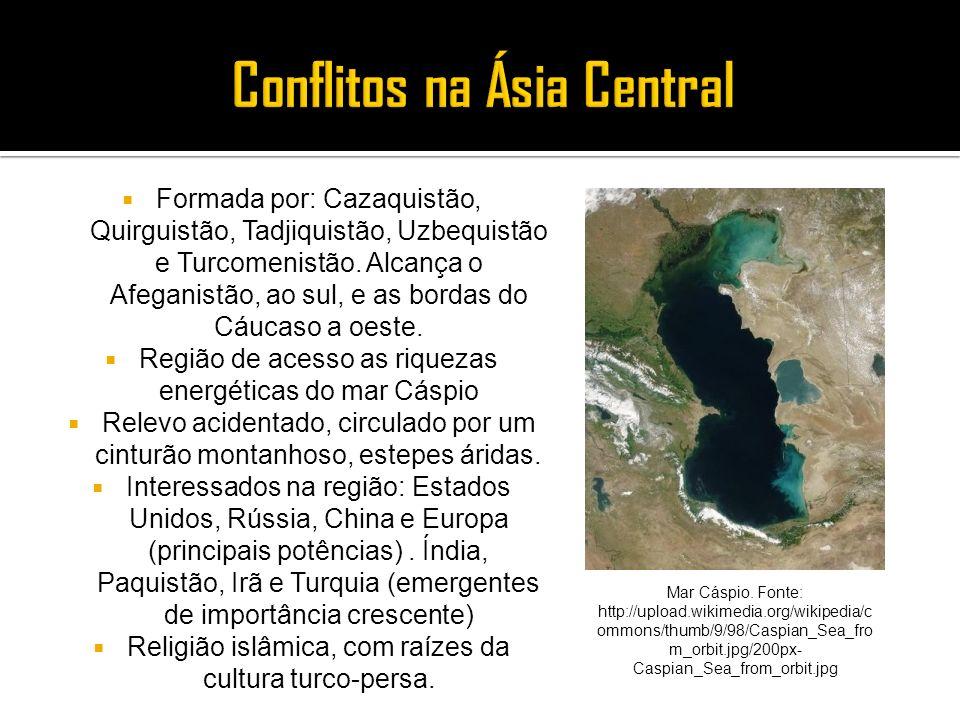 Formada por: Cazaquistão, Quirguistão, Tadjiquistão, Uzbequistão e Turcomenistão. Alcança o Afeganistão, ao sul, e as bordas do Cáucaso a oeste. Regiã
